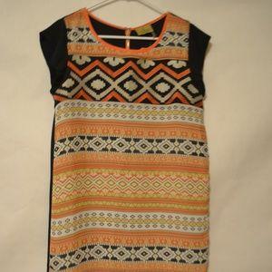 Wooden Nickel Multi Color Shift Dress Size Med
